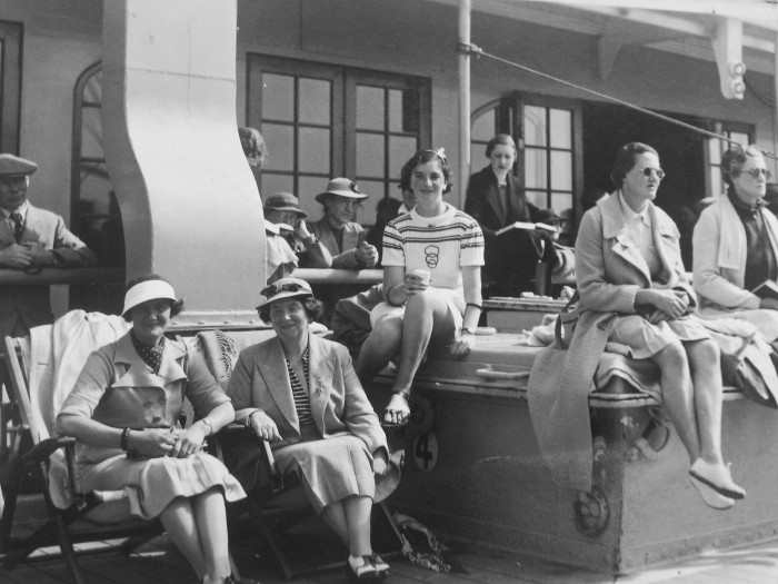 Sun seekers on RMS Viceroy of India 1935. Fellow passengers of Ron and Mervyn.