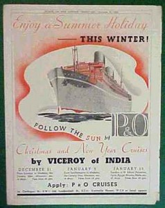 RMS Viceroy of India winter cruise advertisement.