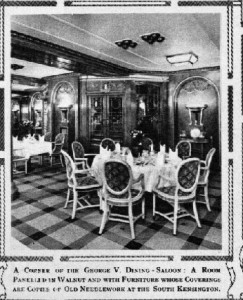 The grand George V Dining Room aboard the Viceroy of India.
