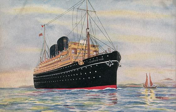 RMS Viceroy of India, under steam.