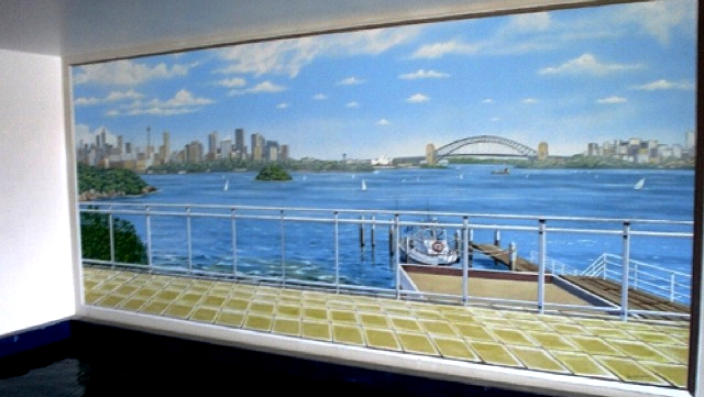 SWIMMING POOL MURAL A VIEW TO A BRIDGE